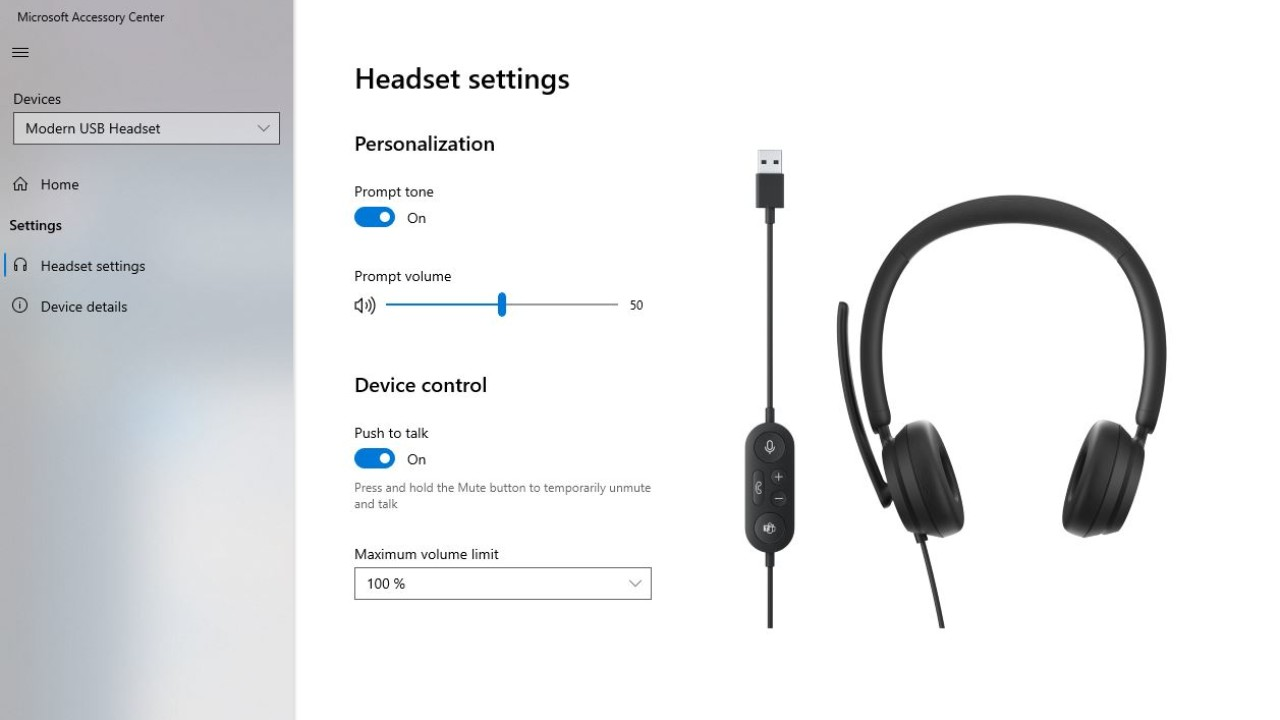 Microsoft Accessory Center showing settings for Modern USB headset