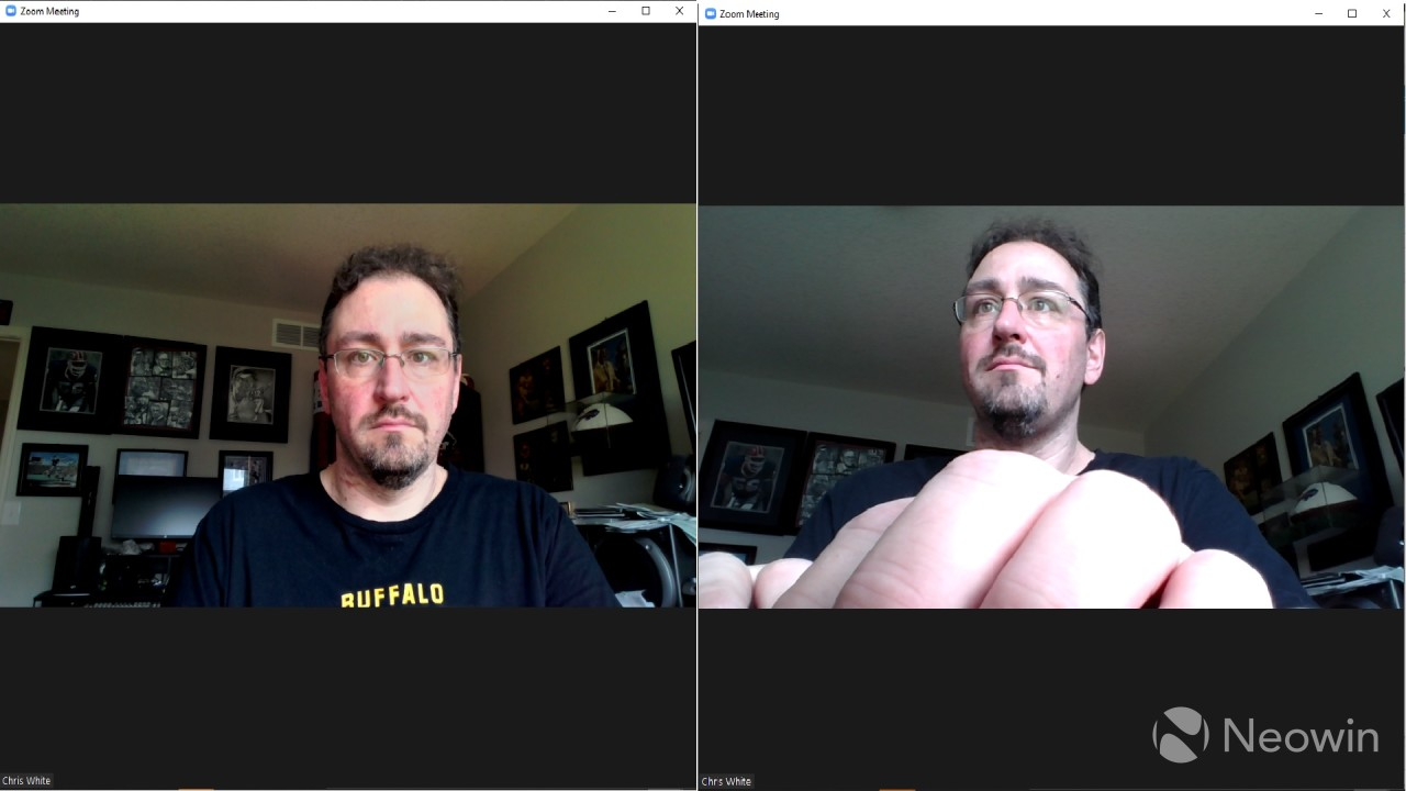 Screenshot showing Modern webcam on the left and built-in webcam on the right