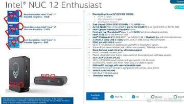 Alleged Intel NUC 12 image and specifications