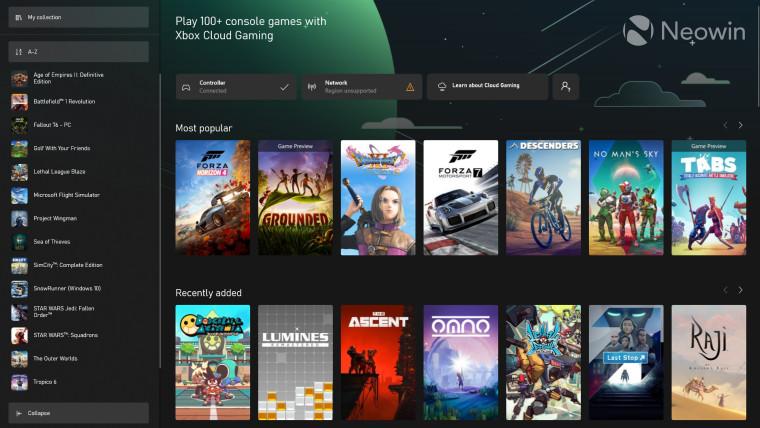 Cloud gaming enabled Xbox App