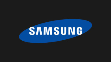The Samsung logo on a black background