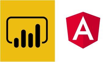 Power BI logo on the left Angular logo on the right