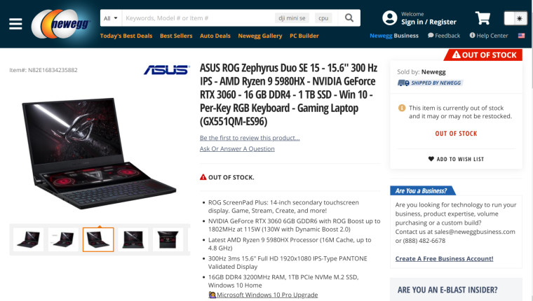 ASUS ROG Zephyrus Duo SE 15 with 5980HX Newegg listing