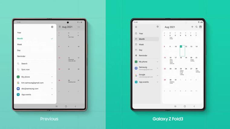 Samsung Galaxy Z Fold3 split screen comparison