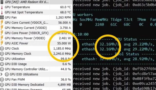 RX 6600 XT mining at 55W of power