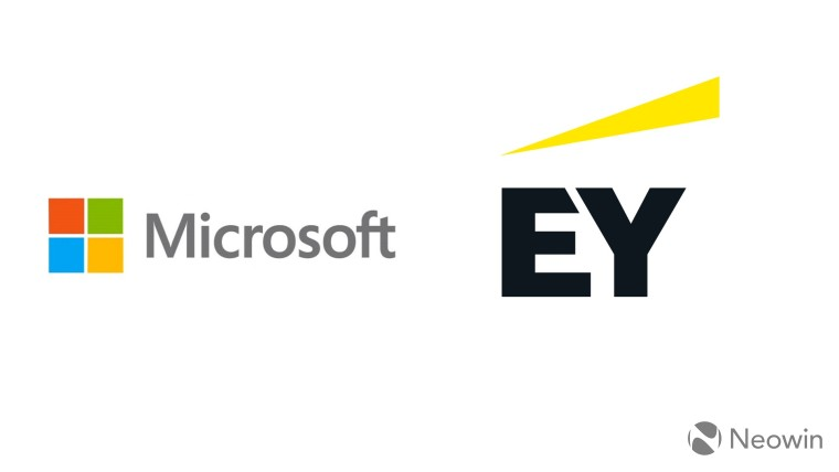 Microsoft logo on the left EY logo on the right