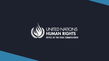 The OHCHR logo on a dark blue background
