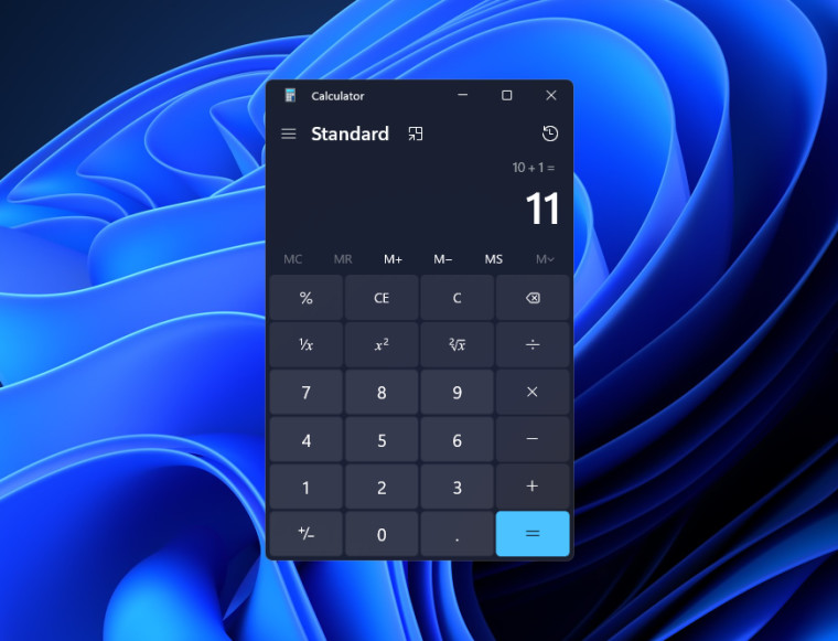 Windows 11 Calculator app with rounded corners