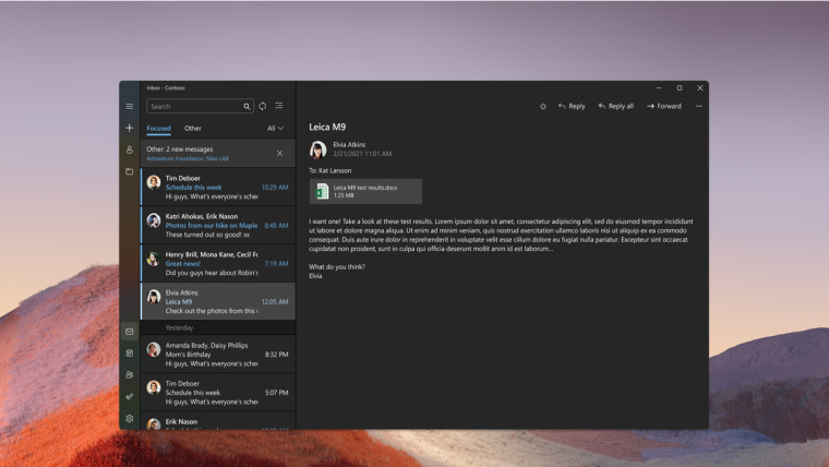 Windows 11 updated Mail app with rounded corners showing a list of emails