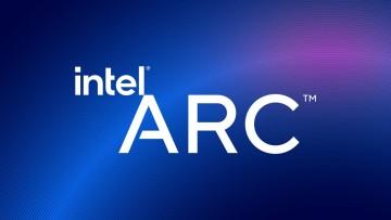 Intel Arc logo on a blue background