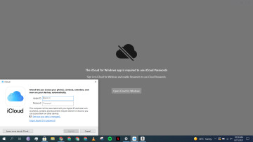 A screenshot of the iCloud and iCloud Passwords app open on Windows 10