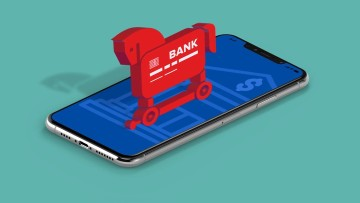 Trojan horse with dollar sign on a phone screen indicating banking trojan