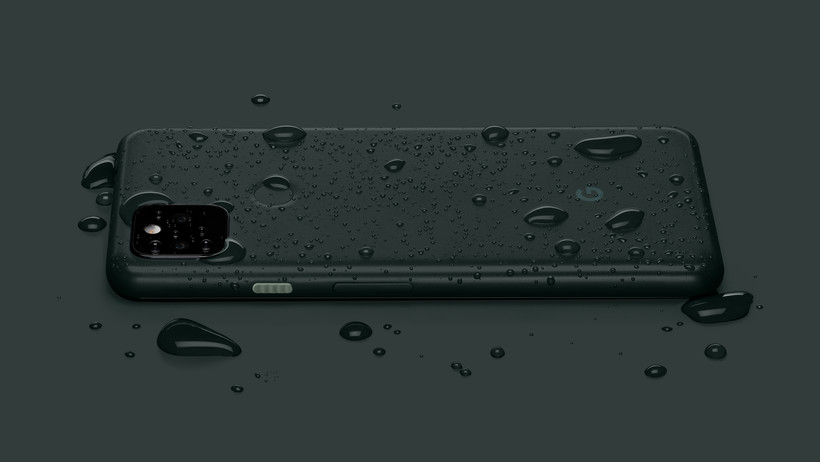 Water droplets on a dark green Google Pixel 5a 5G