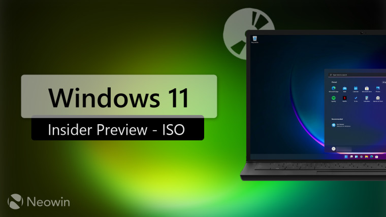 A laptop running Windows 11 with Windows 11 Insider Preview ISO written next to it
