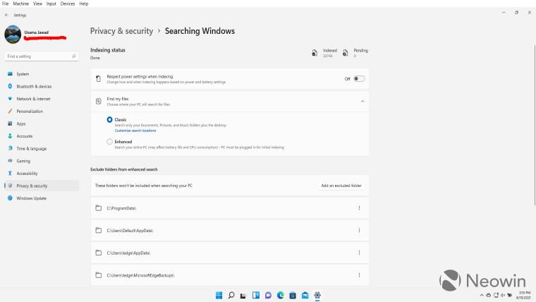 Windows 11 Search settings