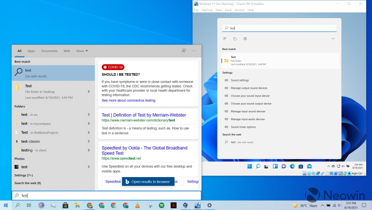 Windows 10 and Windows 11 Search running at the same time
