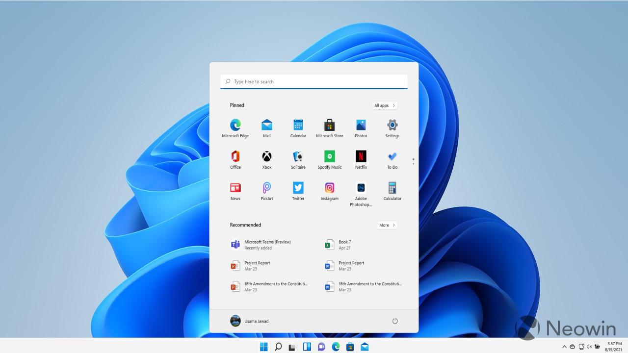 Windows Search in Start menu