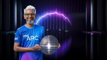 Raja Koduri of Intel holding a shining chip wafer