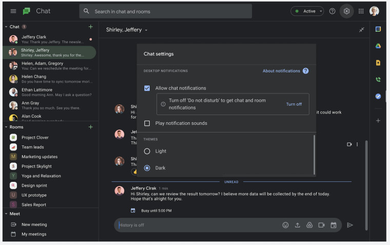 Google Chat with its dark theme on the web