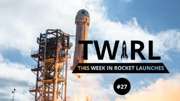 The New Shepard rocket behind the TWIRL logo