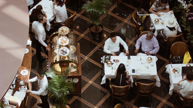 An overhead shot of a restaurant