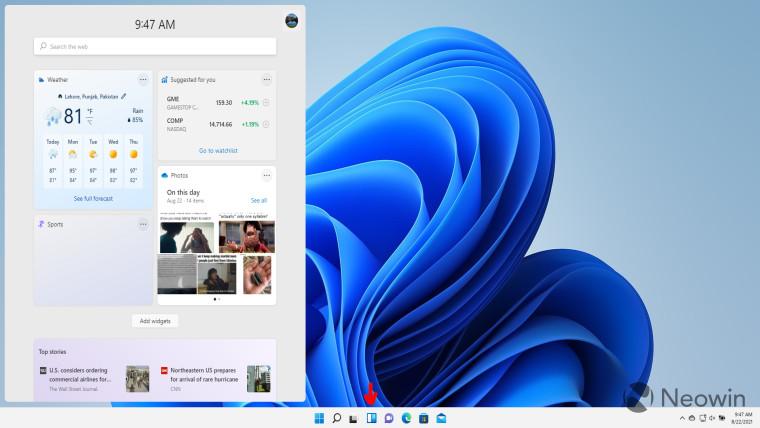 A screenshot showing the widgets UI in Windows 11