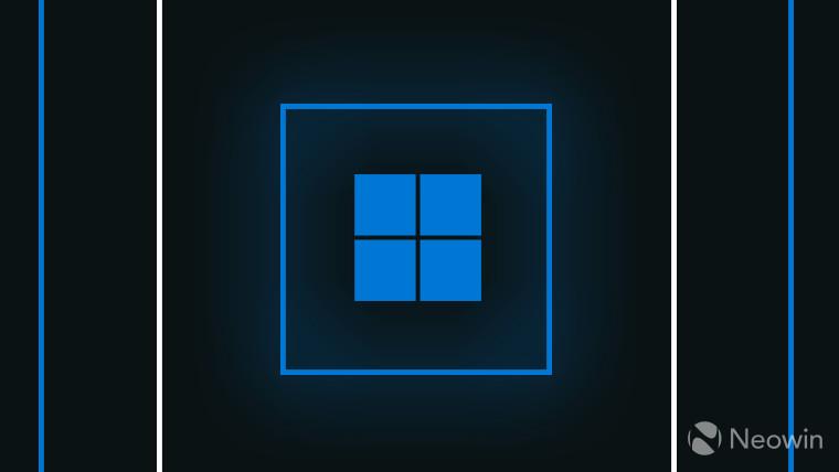 Windows 11 logo blue on dark grey background