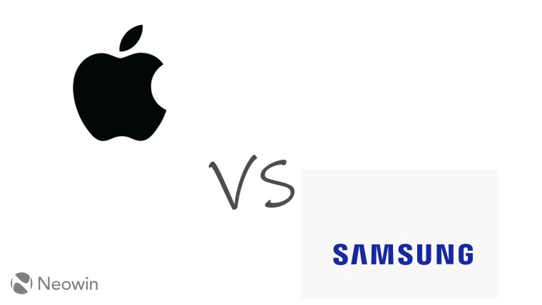 Apple and Samsung logos with vs in between