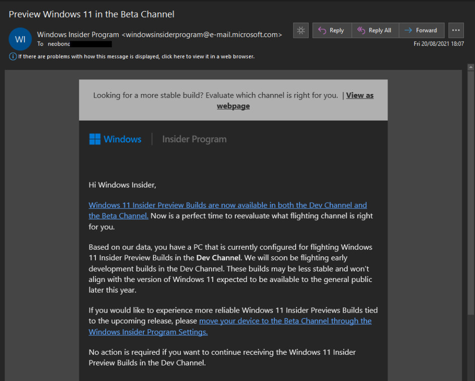 Microsoft cautionary email to Dev Channel insiders