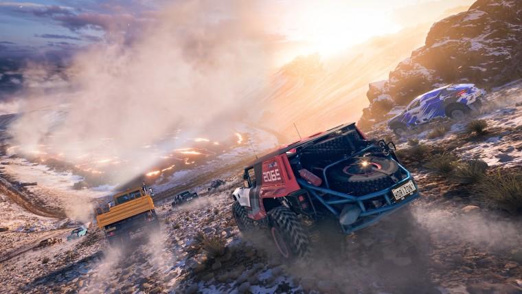 Forza Horizon 5 screenshot showing a volcanoe and two cars