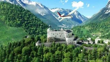 A Cessna aircraft flying near the Honenwerfen castle in Austria