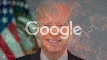 A Google logo superimposed on the face of Joe Biden