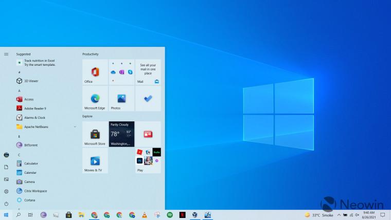 A screenshot of a Windows 10 desktop with the Start menu open