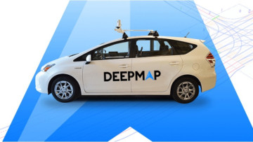 A car with the DeepMap logo on the side