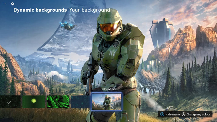 This is a screenshot of the Halo Infinite dynamic theme on Xbox Series XS