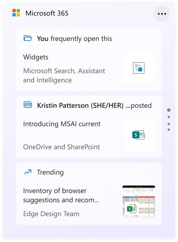 The new Microsoft 365 widget with you frequently open this and trending files