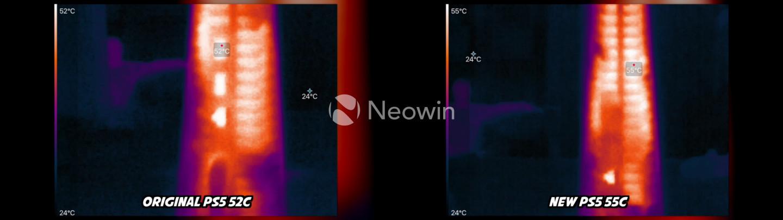 Immagini affiancate che mostrano la differenza di temperatura tra la nuova e la vecchia PS5