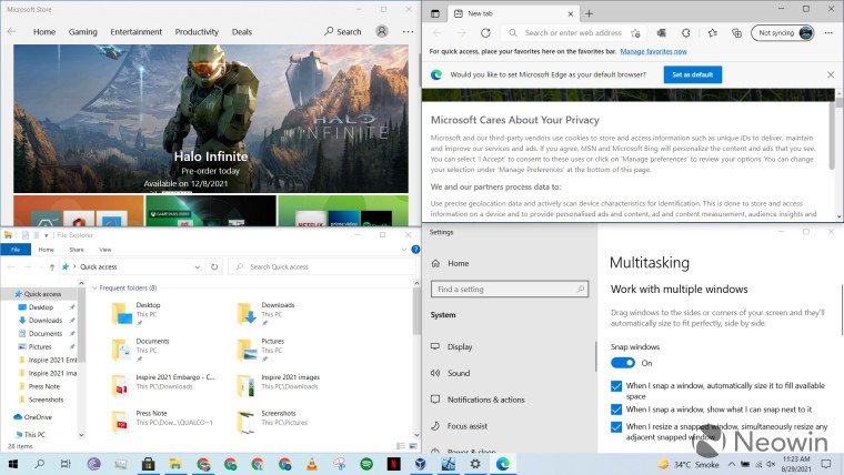 Four Windows open at the same time using Snap Assist on Windows 10