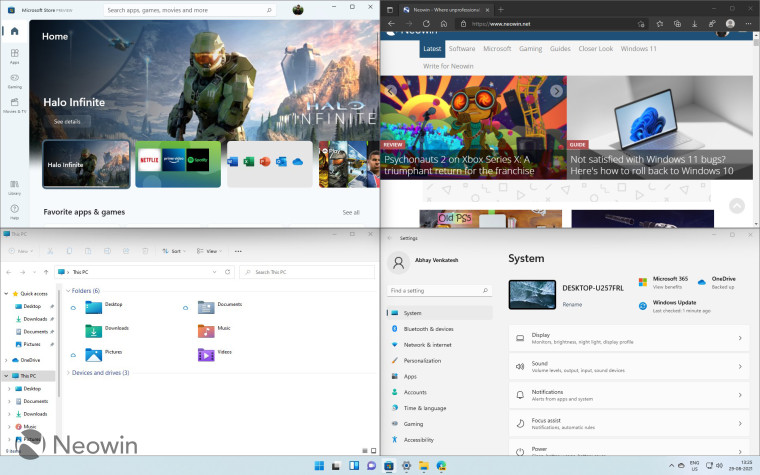Windows 11 Snap Group feature displaying File Explorer Store Edge and Settings apps