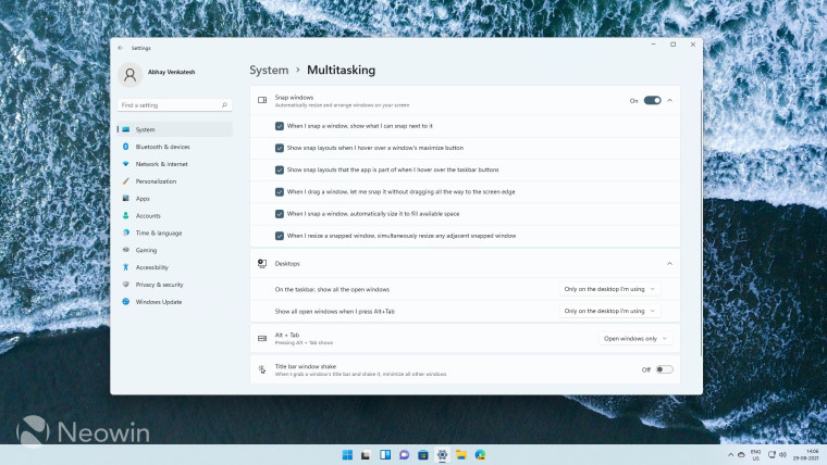 Windows 11 Snap Group Settings