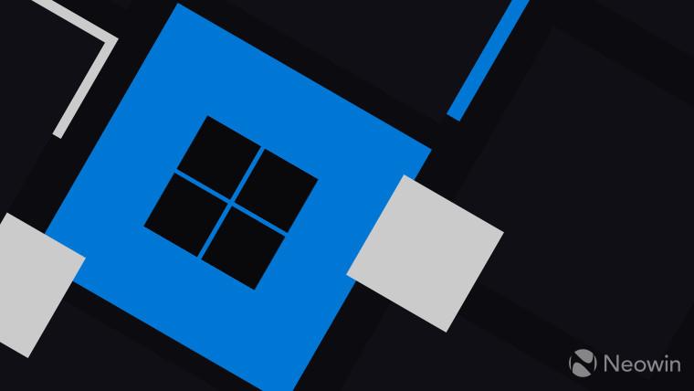 Windows 11 logo dark grey on blue square background