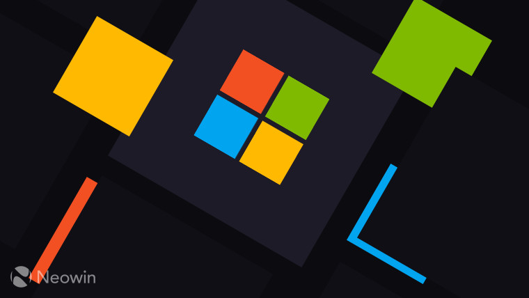 Microsoft Logo symbol full color on dark grey square background