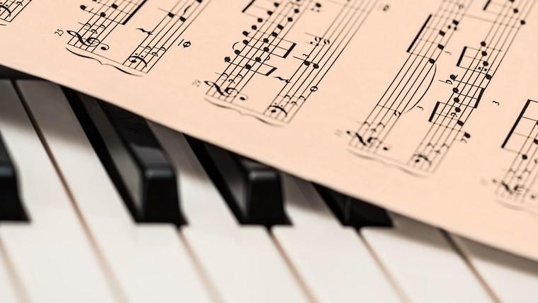 Sheet music on a piano