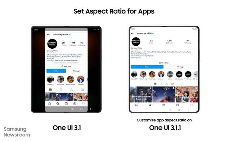 Screenshots showing aspect ratio changes in the new One UI update