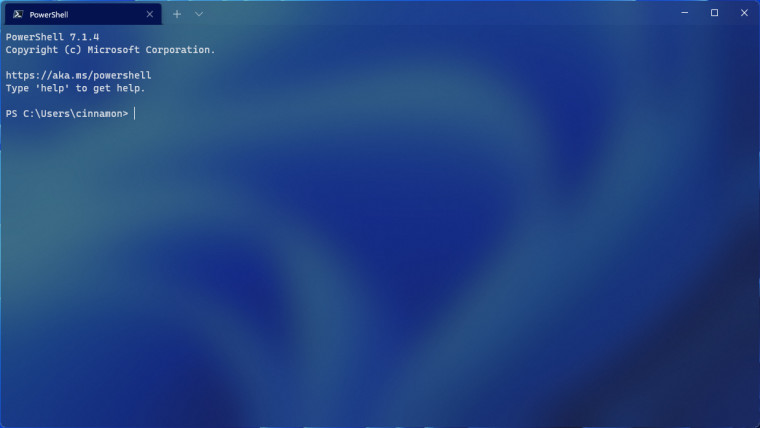 A Windows Terminal Preview window with a translucent title bar running PowerShell