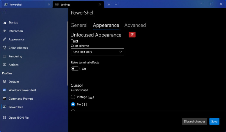 Windows terminal showing unfocused profiles settings UI such as Color Scheme and retro effects