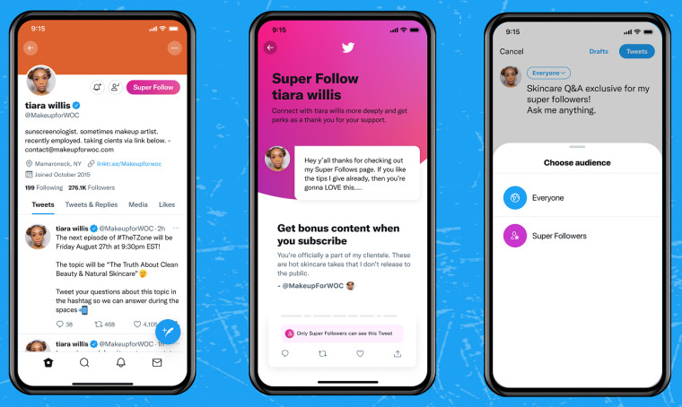 Twitter Super Follows interface on mobile