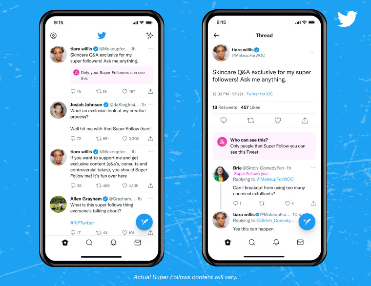 Twitter Super Follows appearing for paying subscribers on mobile