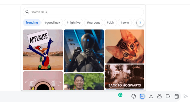 Google Chat with GIF on the web