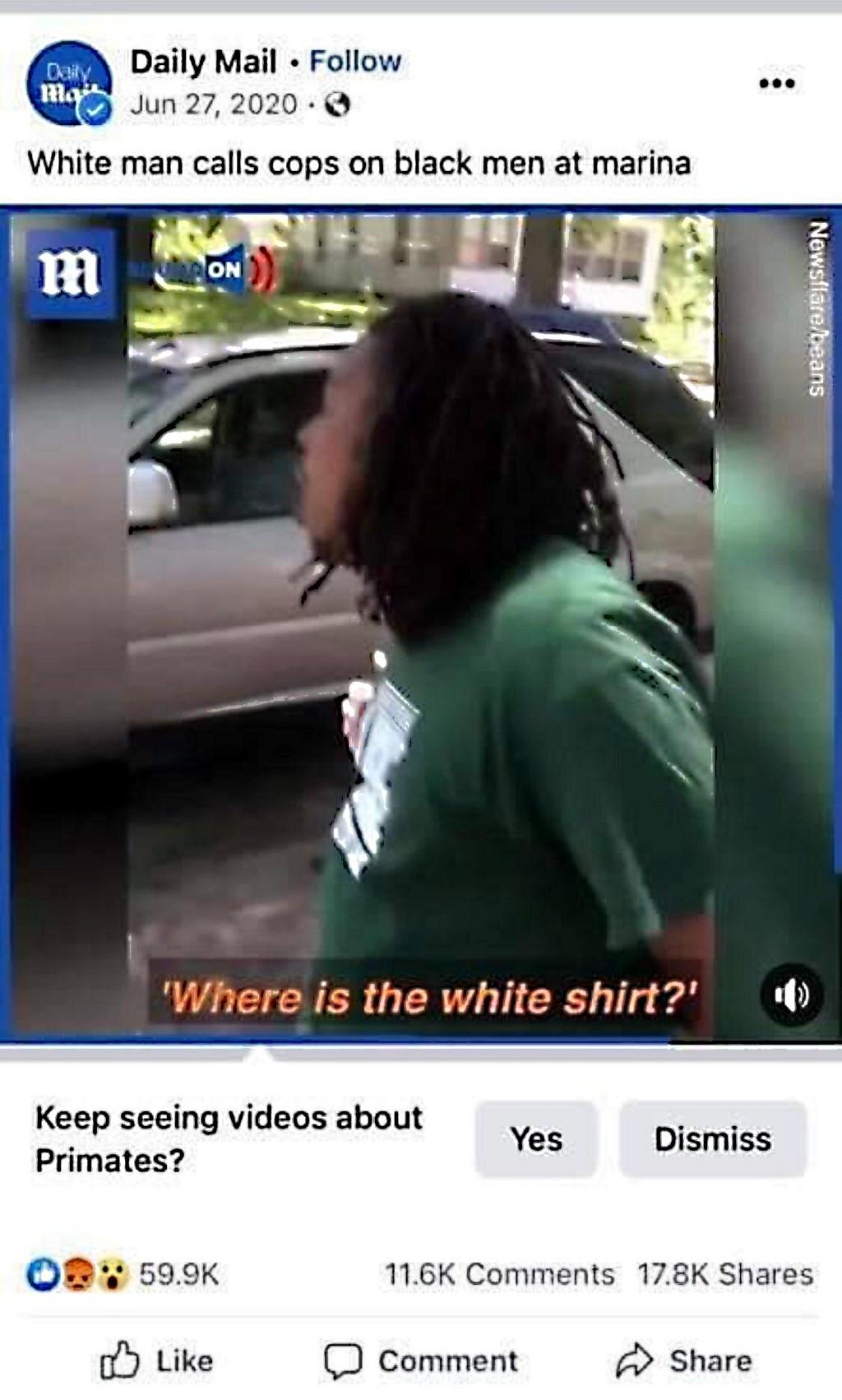 Facebook thinks black man is primate